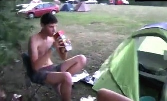 Student boy, straight, giving his ass for money inside the tent