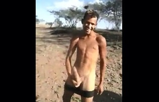 Rural boy, 18 years, showing his monster cock
