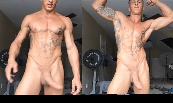 Big cock straight male hung muscular hunk poses