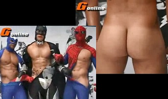 Gay super heroes – Spider-Man, Batman and Captain America naked and wanking