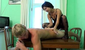 Hot blond boy fucks his sister after massage