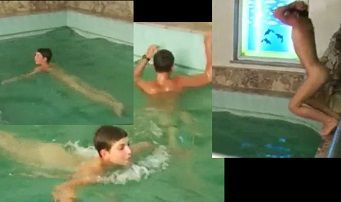 Russian boys skinny dipping naked in a pool
