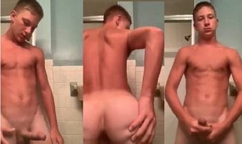 18 year old amateur blond boy jerking off in the bathroom